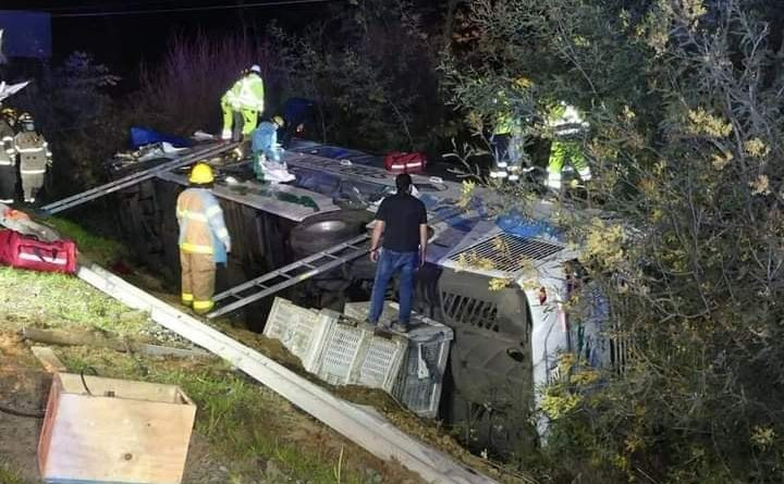 Un fallecido y 43 heridos deja accidente, bus de la empresa Nar-Bus se dirigía desde Puerto Saavedra a Santiago